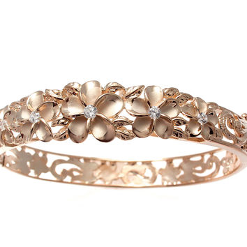 PINK ROSE GOLD SILVER 925 HAWAIIAN FANCY PLUMERIA FLOWER MAILE LEAF HINGE BANGLE
