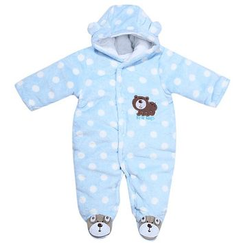 Autumn Winter Baby Romper Newborn Coral Velvet Long Sleeve Hooded Jumpsuit Baby Boys Girls Clothing Kids Climb Clothes