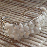 Natural Grey Quartz Stone Chip Silver Wire Wrapped Cuff Bracelet