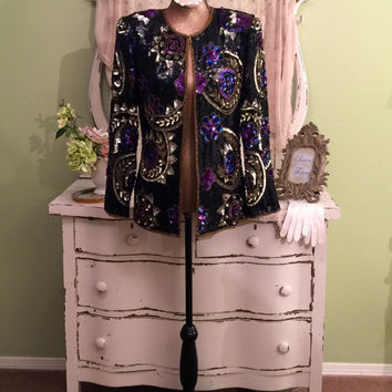 Ornate Beaded Coat, Multi Color Jacket, Gold Blue Purple, Boho Chic Coat, Special Occasion, Milan Paris, Elegant Baroque Sequined Coat, S/SM