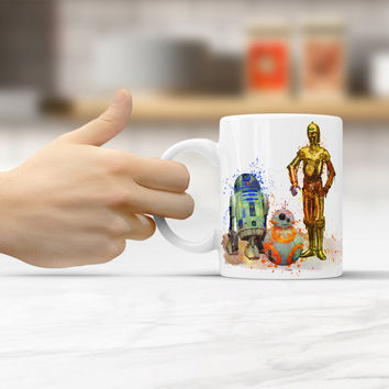 Star Wars R2-D2, BB-8 and C-3Po coffee mugs travel cups ceramic white mug home decal porcelain tea cups drink water milk beer