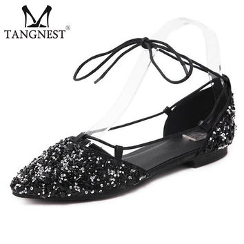 Tangnest Brand Women Ballet Flats Bling Crystal Women Ankle Strap Flats New 2017 Summer Pointed Toe Princess Shoes XWD5727