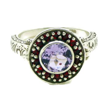 Amethyst and Rubelite Sterling Silver Art Deco Poison Ring, Size 6
