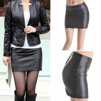 Bodycon Faux Leather Mini Skirt