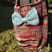 Large Handmade Crochet Handbag/Purse w Blue Bow, Crochet Tote Bag, Hobo Bag, Crochet Slouch Bag, Gift For Her, Variegated Yarn, Handcrafted