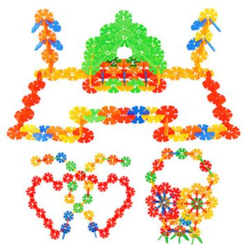 128pc Child Kid Plastic Multicolor Snowflake Building Blocks Educational Toy