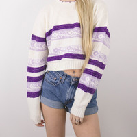 Vintage Floral Striped Cropped Sweater