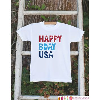 Kids 4th of July Shirt - Patriotic Happy Bday USA Onepiece or Tshirt - 4th of July Shirt Baby Girl or Boy, Youth, Toddler - Independence Day