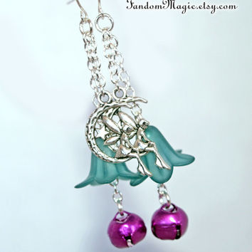 Dangling From the Moon Fairy Earrings with Teal Acrylic Flowers and Purple Bell Charms, Tinkerbell, by Fandom Magic