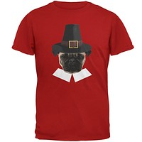 Thanksgiving Funny Pug Pilgrim Red Adult T-Shirt