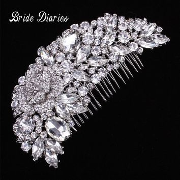 Crystal Austrian Rhinestone Flower Bouquet Hair Comb Wedding Bridal Vintage Hair Accessories Women Headpieces Head wear Party