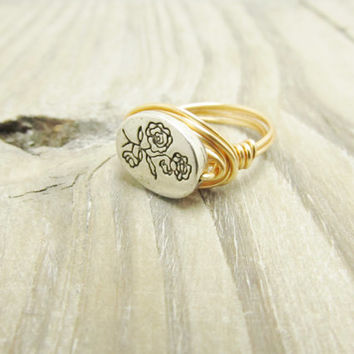 Custom Flower Ring Christmas Romantic Mother Gift Wire Wrap Ring Silver Rose Gold Filled Wire Wrap silver customized bridal Ring  Any Size