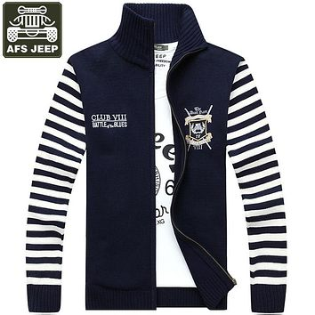 AFS JEEP Brand Cardigan Men's Sweater Thick Warm Sweater Striped Standard Wool Cardigan Male Men's Turtleneck Pull Homme XXXL