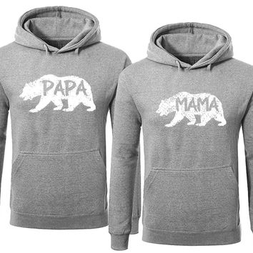 BOLD Bear Family Hoodie for Mama Bear & PAPA Bear Pullover Sweater-Heather Gray-Price for 1