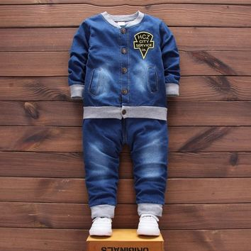 Trendy Kids Clothes Baby Boys Set Girls Outfits 2017 New Kid Tracksuit Children 2pcs Denim Suit Jacket+jeans Toddler Clothing AT_94_13