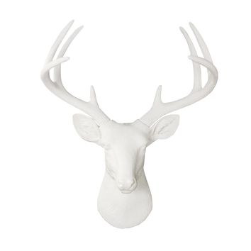 The Virginia | Large Deer Head | Faux Taxidermy | White Resin