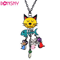 Long Colorful French Cat Necklace