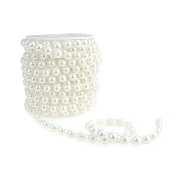 Plastic Flat Back Craft Pearl String, White, 8mm, 12-Yards