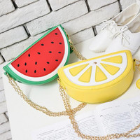 Cute fruit chain shoulder bag orange/watermelon /strawberry /cupcake /hamburger /diamond