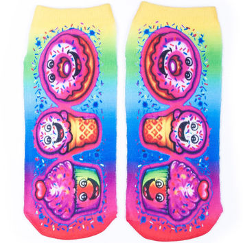 Top Trenz Dessert Airbrush Ankle Socks
