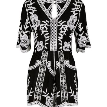Black Floral Crochet Embroidered Playsuit | New Look