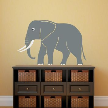 Cute Elephant Wall Decal - Safari Wall Decor - Children Wall Decals Nursery Decor