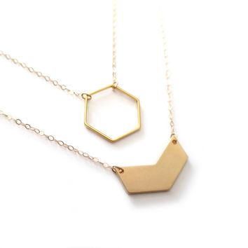 Gold Chevron Necklace, Gold Hexagon Necklace, 14k Gold Fill Necklace, Gold Necklace, Gold Layer Necklace, Gold Honeycomb Necklace