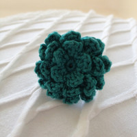 Emerald green lagoon pantone color of year crochet flower adjustable ring mum rose dahlia fashion accessory bridesmaid gift jewelry