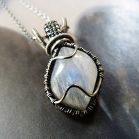 Moonstone Sterling silver pendant, wire wrapped necklace, OOAK, gift for her, under 100, birthday gift, gift for wife, gift for mother