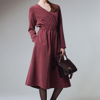 Dusty Rose Dress Pink Dress Midi Dress Dark Pink Dress Wine Dress Sport Chic Dress V Neckline Dress Long Sleeves Dress