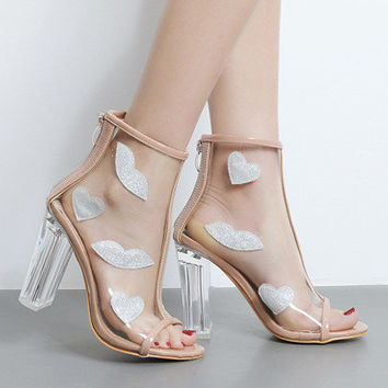 Summer Fashion Multicolor Pattern Stitching Transparent Women High Help Sandals Thick Heel Heels Shoes
