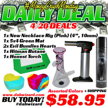 DAILY DEAL 04/20/2015 - 1x New Necklace Rig (Pink) + 1x 5x4 Green Mat + 2x Evil Bundles Hearts + 1x Hitman Butane + 1x Honest Torch