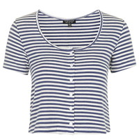 Button Up Stripe Top - Topshop