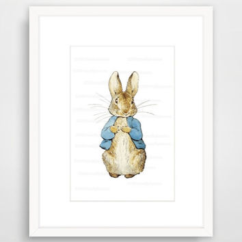 Matted, Peter Rabbit Nursery Art, Beatrix Potter Decor, Storybook Wall Art, Toddler Room Decor, Beatrix Party, Unisex Baby Shower Gift