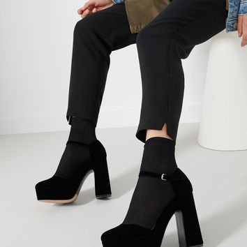 Velvet Platform Court Shoes - HEEL SHOES - WOMAN | Stradivarius United Kingdom