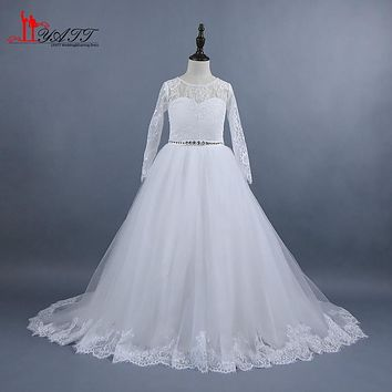 New Flower Girls Dresses for Weddings 2017 Lace Sweetheart Long Sleeves Floor Length Tulle First Communion Dress Girl Prom Gown