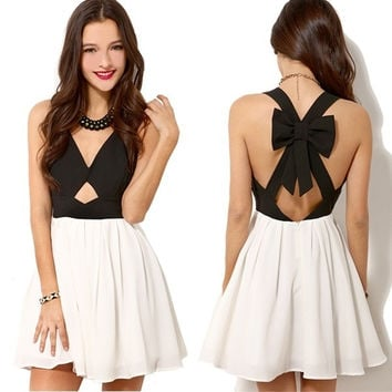 SUNFASHION Women's Fashion Black Criss Cross Back Bowknot Pleated Dress = 5659359041