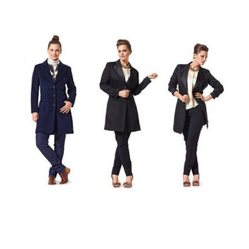Women's Fitted Tuxedo JACKET 3 Button Placket Closure Wide Lapels Slash Pockets Burda 7181 Size 18 to 28 UNCUT Plus Size Sewing Patterns
