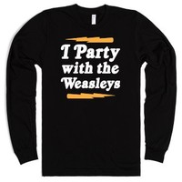 I Party With The Weasleys-Unisex Black T-Shirt
