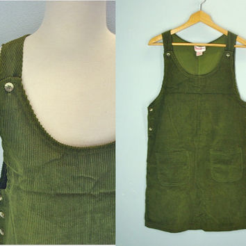 Vintage Corduroy Jumper / Wide Wale Corduroy Dress / Olive Green Jumper / S