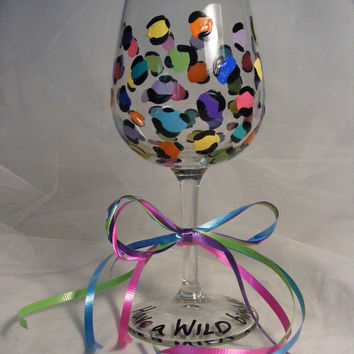 colorful leopard print wine glass for a Wild birthday by DelightfulFinds
