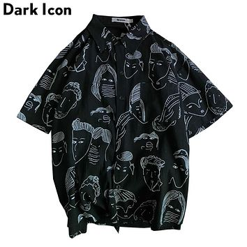 Dark Icon Harajuku Summer Hawaii Style Men's Street Shirt