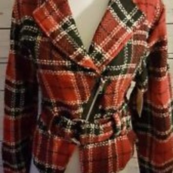New NWT GUESS size S Small tweed red black cropped  Coat jacket