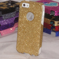 Otterbox Custom iPhone 5 Case, Gold Glitter White Silicone iPhone 5 Case, iPhone 5 Cover