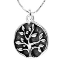 """Sterling Silver """"A Family's Love Is Nature's Masterpiece"""" Reversible Family Tree Pendant Necklace, 18"""""""