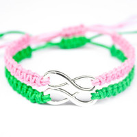 Infinity Friendship or Couples Bracelets Pink and Green Hemp