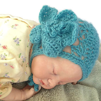 Outlander Crocheted Aqua Mohair Lace Baby Bonnet Turquoise Size Newborn Mandy Flower Hat Photo Prop Gabaldon FREE SHIPPING