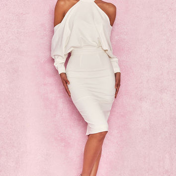 Clothing : Bodycon Dresses : 'Camora' White Draped Top Midi Dress