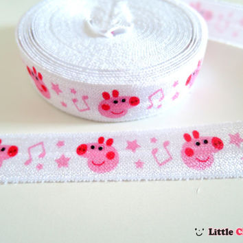 5 Yards Peppa Pig Music Notes Design Print Fold Over Elastic 5/8 inch FOE Ribbon by the yard DIY