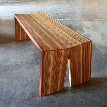 Split bench - reclaimed wood and jatoba - original, unique design -great for entry way or dining table